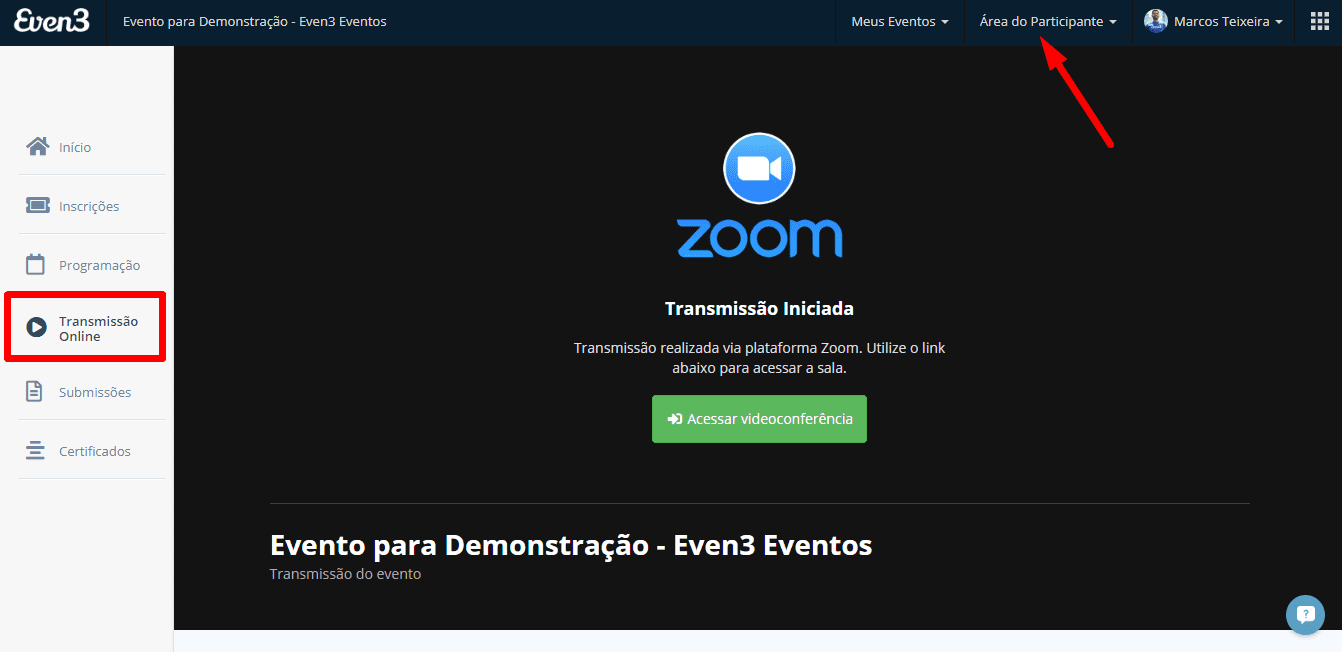 Videoconferência na Even3: exemplo do Zoom