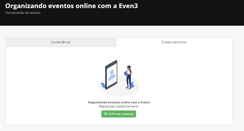 Tela do credenciamento de evento online manual na visão do participante pela Even3