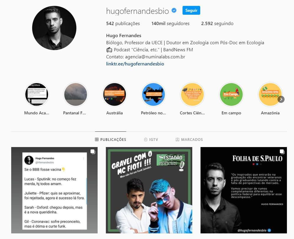 Perfil de Instagram de Hugo Fernandes Bio é exemplo de divulgação científica.
