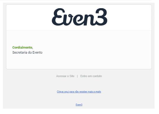 Exemplo de descadastramento de e-mail na Even3