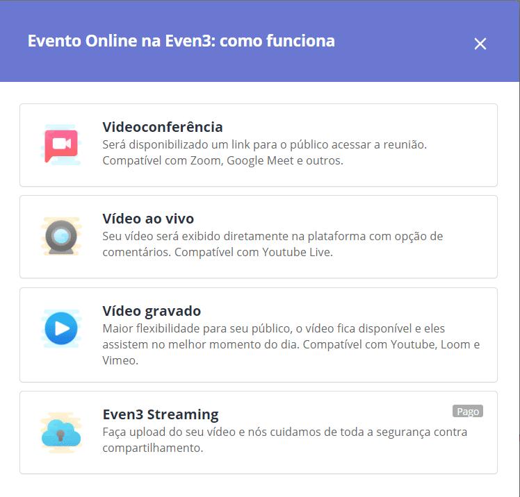 tipos de evento online na even3