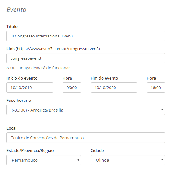 configuracoes do evento