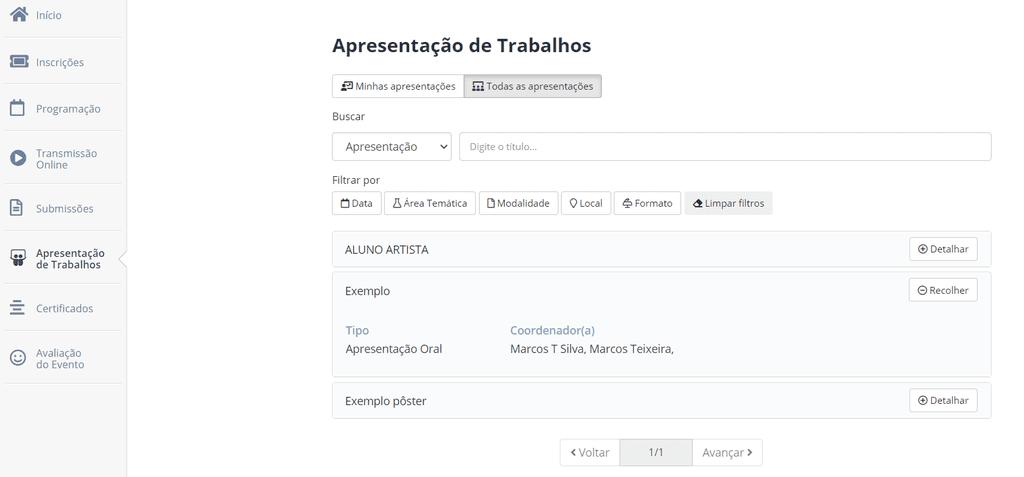 Demonstração do módulo de apresentação de trabalhos online para participantes