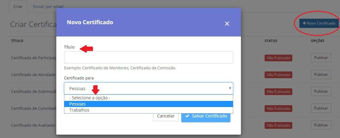 como atribuir um título ao certificado na plataforma da even3