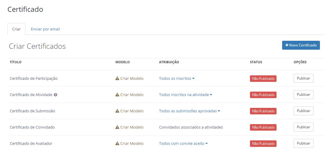 tela inicial menu certificados even3