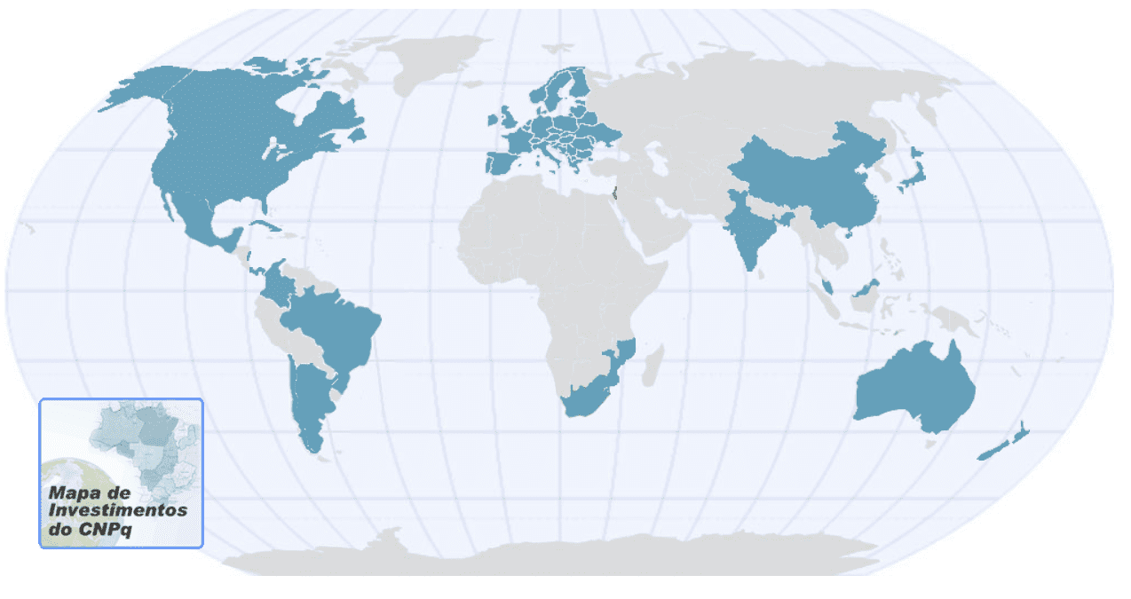 Mapa de investimentos da CNPq