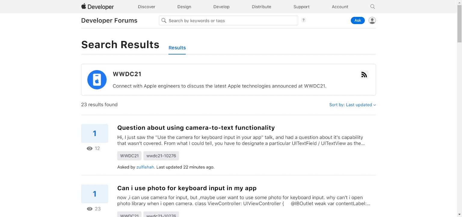 Fórum de perguntas do WWDC 21