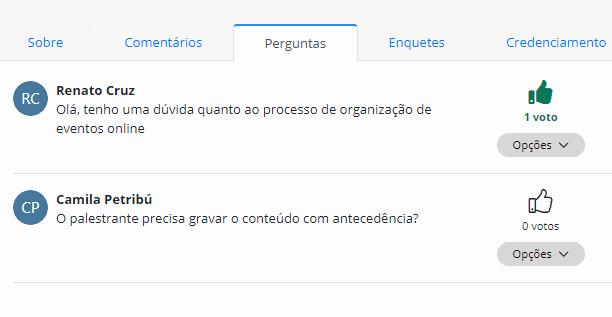 Demonstração das perguntas, funcionalidade gratuita da Even3