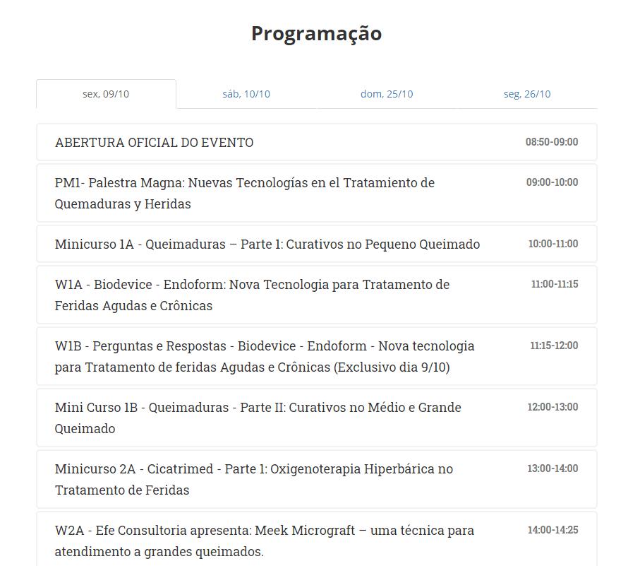 Programação da Jornada Paulista Sobratafe